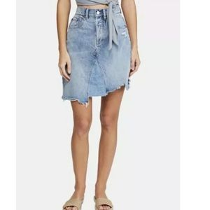 Free People Going Rogue Denim Skirt Frayed Hem 26